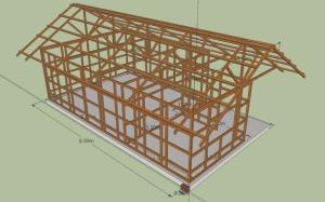 Gambar Rangka bangunan kayu